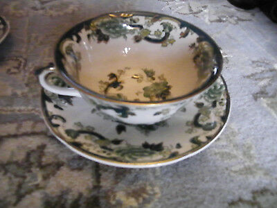 Masons Green Chartreuse Soup Cup and Stand/Saucer in Good Condition