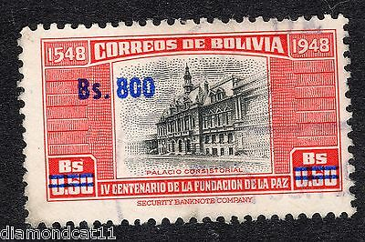1957 Bolivia 800b OPTD on 0.5b Consistorial Palace SG628 FINE Used R16109