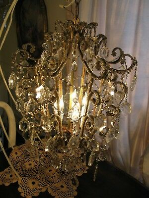 Antique Italian Pagoda Crystal Beaded Macaroni Birdcage Chandelier Make Offer