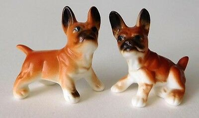 Vintage Miniature Bone China Pair of French Bulldogs - Matte Finish