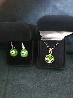 *RARE* M&M's Danbury Mint Green Character Earrings and Necklace Set