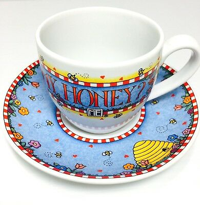 Cup and Saucer Set Mary Engelbreit WONT YOU BEE MY HONEY Andrews McMeel ME Ink