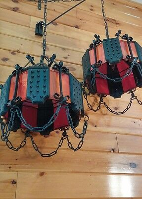 Antique/VTG Gothic Spanish Medieval Hanging Chandelier Swag Light, Set/Pair. WOW