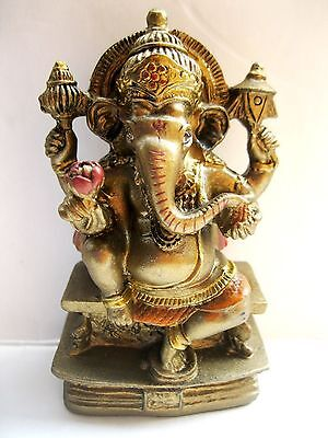GANESHA STATUE 9CM Hindu Elephant God HIGH QUALITY Resin Seated Ganesh India NEW