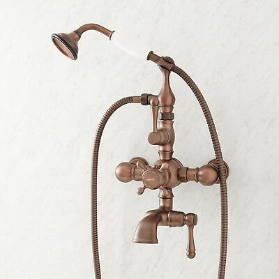 Signature Hardware Nottingham Thermostatic Wall Mount Tub Faucet and Hand Shower