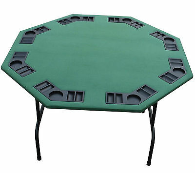 "52"" Octagon Green Felt Poker Table W/ Folding Steel Legs-Texas Holdem Card Games"