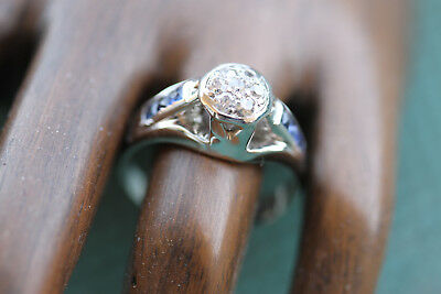VINTAGE ART DECO DIAMOND AND SAPPHIRE WHITE GOLD RING  14 KT size 8