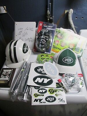 NFL Assorted Lot of New York Jets Items, Autographs, Hats, Stickers, Banners Etc