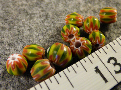 (10) Old 6 Layer Chevron Indian Trade Bead Green 150+ Year Old Venetian Glass