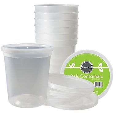 DuraHome - Deli Food Storage Containers With Lids 32 Ounce Quart Pack of 24 -...