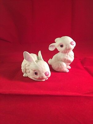 Vintage Pair of BUNNY by ANDREA by Sadek #6387 White Porcelain Bunnies Figurines
