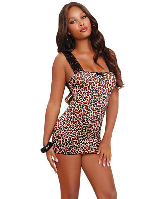 Dreamgirl 10148X Plus Size Lace Up Back Leopard Chemise