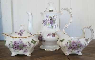 Hammersley Victorian Violets Teapot Creamer Sugar Bowl Set Made In England
