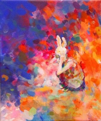 ORIGINAL CHIHO IWASE  Self portrait with Bunny 1 ABSTRACT ACRYLIC BOARD PAINTING