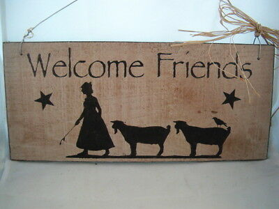 Hand Painted Primitive Rustic Western Wood Goat Sign Welcom Friends