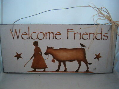 Hand Painted Primitive Rustic Western Wood Cow Sign Welcom Friends