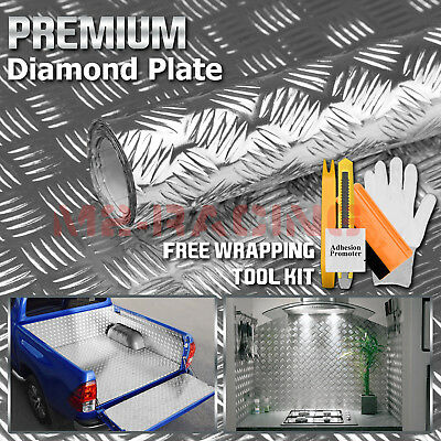 "*48""x120"" Silver Chrome Diamond Plate Vinyl Decal Sign Sheet Film Self Adhesive"