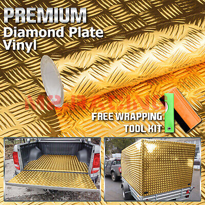 "*12""x48"" Gold Chrome Diamond Plate Vinyl Decal Sign Sheet Film Self Adhesive"