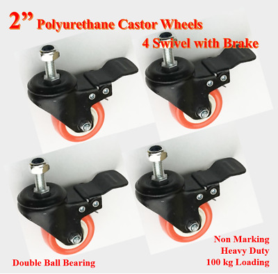"2""PU Bolt Castor Wheels,4 swivel Castors with Brake,Ball Bearing, with Nuts"