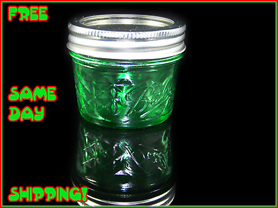 4 oz Ball Green Mason Jar Vintage Stained Glass Antique RARE FREE SAME DAY SHIP!