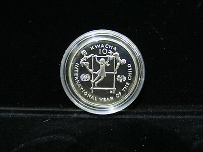 1980 Zambia 10 Kwacha Proof .925 Silver Year of the Child