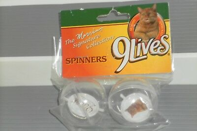 Set of 2 NEW 9 LIVES Spinners Balls Morris Cat Mascot Real Taste Pet Food