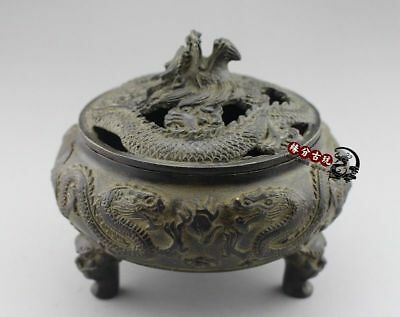 China Exquisite Old Handwork Bronze Look up Dragon Incense Burners Collectible