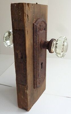 Antique 12-Point Glass Door Knobs Face Plates and Original Door Cut-Out
