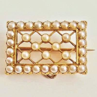 Stunning Antique Victorian 15ct Gold Pearl set Rectangular Openwork Brooch c1885