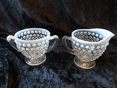 Hobnail Opalescent Cream and Sugar Bowl - Excellent Condition!