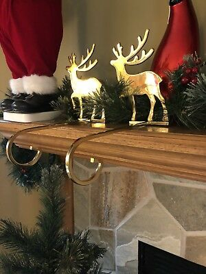 Pair of Solid Brass Reindeer Long Stocking Christmas Holder Hook 8""