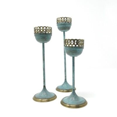 Vintage Brass Verde Green Lot of 3 Candle Holders Cutout Tops