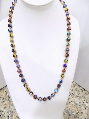Vintage Venetian Art Glass Necklace Murano Lampwork Millefiori Beads 26""