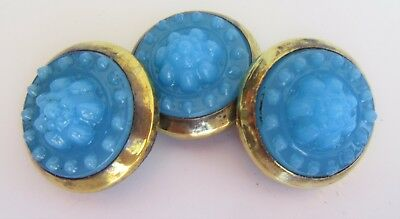Antique Victorian Picture Nail Head Cover Fancy Czech Blue Molded Glass Trio Set