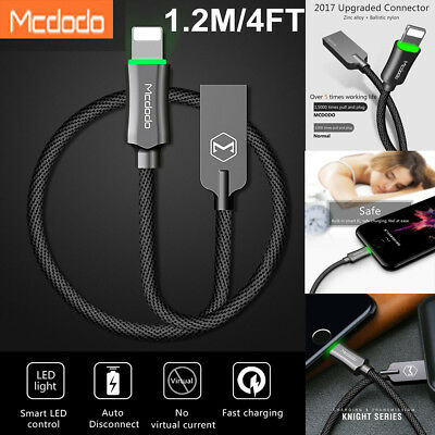 MCDODO LED Auto Disconnect Lightning Data USB Charger Cable for iPhone X 7 8 6S
