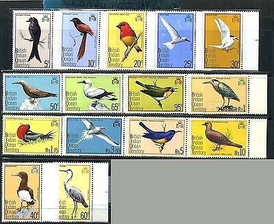 Br.INDIAN O.Ter. Sc63~77(15) CplSet 1975 E2R Def. Birds MNH Cv$36