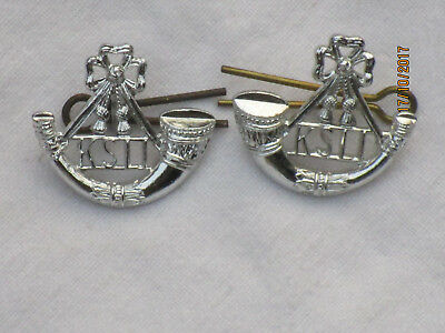 KINGS SHROPSHIRE LIGHT INFANTRY COLLAR BADGES, Anodised Aluminium Staybright