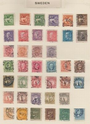 SWEDEN STAMP COLLECTION on Album Pages  1872 - 1971   Used