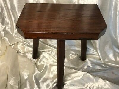 1 Antique Victorian Style Solid Elm Country Milking Dairy Workshop Stool Seat