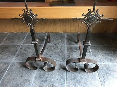 Jan Barboglio Bronze Hammered Iron  Metal Fireplace Andirons, Used