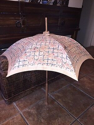 Vtg Antique Cloth Umbrella Parasol Wooden Handle Doll Child Size 27""