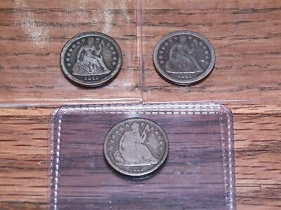 3 Liberty Seated Dimes: 1839 O  and (2) 1842 O