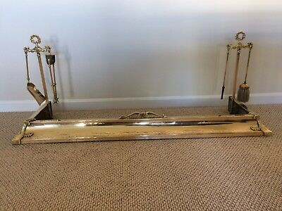 Antique Brass Fireplace Fender with Tools
