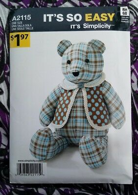 "Simplicity Teddy Bear Sewing Pattern 2115 Its So Easy A2115 One Size 18"" Uncut"