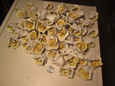 BBT  Lot of 100 Yellow Capodimonte Roses Porcelain Lamp Chandelier Flowers