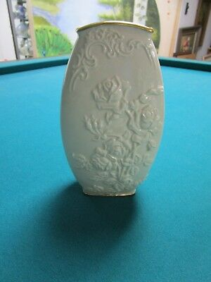 Lenox Vase EMBOSSED ROSES AND LEAVES TOUCHES OF GOLD  [*LENXC]