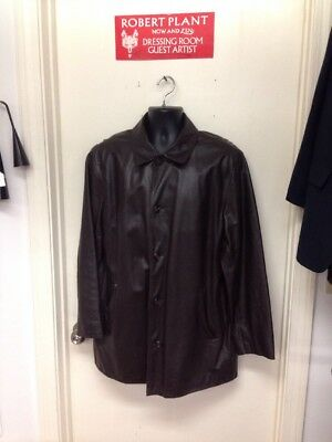 Men's J Crew Leather Jacket Large Brown Button Down Field Jacket