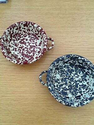 2 Enamelware Red & Blue Speckled  4 Inch Dishes  Camping Kitchen