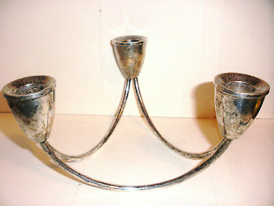 Duchin Creations Sterling silver Mid Century Modernist Triple Candle Holder