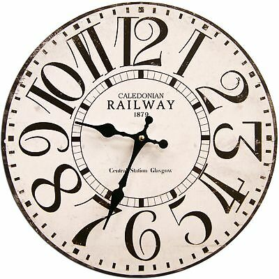 """Vintage Wall Clock 13"""" Railway Shabby Chic Wooden Rustic Decor Arts Home Kitchen"""